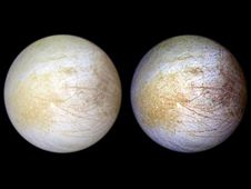 This color composite view combines violet,<br /> green, and infrared images of Jupiter&#39;s<br /> intriguing moon, Europa, for a view of the<br /> moon in natural color (left) and in enhance<br /> color designed to bring out subtle color<br /> differences in the surface (right).<br /> Image credit: NASA/JPL-Caltech/University<br /> of Arizona<br /> <a href='http://photojournal.jpl.nasa.gov/catalog/PIA01295' class='bbc_url' title='External link' rel='nofollow external'>&#8250; Full image and caption</a>