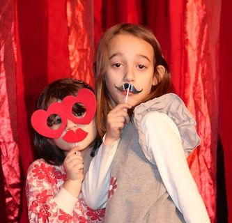 Liz's daughters at the CMP Valentine's Day party