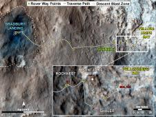 This map traces where NASA&#39;s Mars<br /> rover Curiosity drove between landing<br /> at a site subsequently named &quot;Bradbury<br /> Landing,&quot; and the position reached<br /> during the mission&#39;s 123rd Martian day,<br /> or sol, (Aug. 10, 2012).<br /> Image credit: NASA/JPL-Caltech/Univ. of<br /> Arizona <br /> <a href='http://www.nasa.gov/mission_pages/msl/multimedia/pia16459.html' class='bbc_url' title='External link' rel='nofollow external'>� Full image and caption</a>