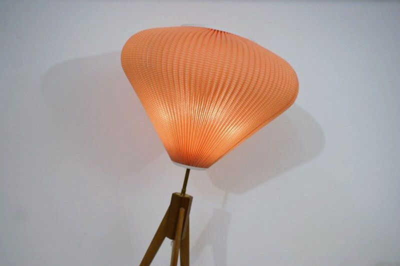 tripod lampe 50er plissee 3 bein leuchte stehlampe stehleuchte ebay